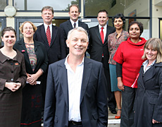 Phil Goff with Labour's hopefuls for the Mt Albert byelection - from left: Meg Bates, Glenda Fryer, Chris Tremewan, David Shearer, Stuart Prossor, Rhema Vaithianathan, Farida Sultana and Helen White. Photo / Glenn Jeffrey
