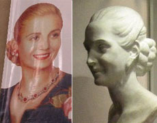 Eva Peron's likeness is everywhere in Buenos Aires. Even her death mask is on display in the Museo Evita. Photos / Graham Reid