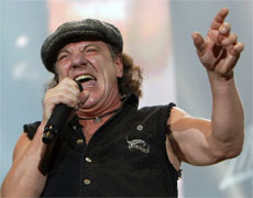 AC/DC's lead singer Brian Johnson. Photo / AP