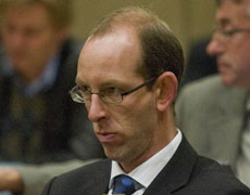 David Bain listens to evidence at his retrial in the Christchurch High Court. Pool photo