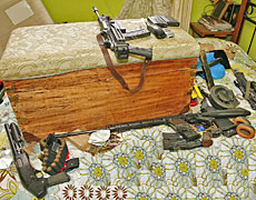 Firearms found in the bedroom where Jan Molenaar was found dead. Photo / NZ Police