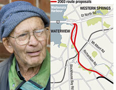 85-year-old Len Purchase of Mt Albert has slammed the Government's decision to axe the Waterview tunnel. Photos / Richard Robinson, Herald graphic