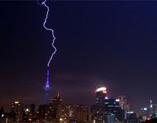 June in Auckland concluded with a dramatic lightning display. Photo / Simon Riley