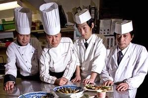 Chefs (from left) Matsumoto Shinichi, Morita Masaru, Nakajima Kenji and Wakamori Jiro at Ariake Restaurant and Sushi Bar. Photo / Dean Purcell