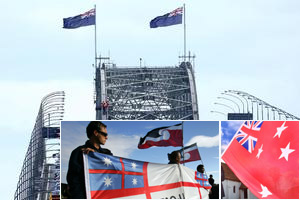 Maori will be asked to choose from four flags: (clockwise from top) the NZ flag, the NZ red ensign, the Tino Rangatiratanga flag or the independent tribes of NZ flag. Photo / Martin Sykes