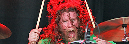 My Morning Jacket's Patrick Hallahan gives his drums a pounding. Photo / Getty Images