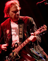 He plays like a man still thrilled with the idea of making lots of noise with electric guitars. Photo / Dean Purcell