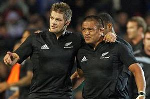 Richie McCaw and Keven Mealamu of the All Blacks walk off after winning the Tri Nations match against Australia. Photo / Getty Images