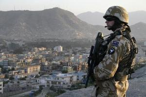 Brendon Whitmore, pictured on patrol in Kabul, is one of 155 New Zealand soldiers in Afghanistan. Photo / Patrick Gower