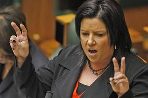 Social Services Minister Paula Bennett defends herself during question time in Parliament yesterday. Photo / Mark Mitchell