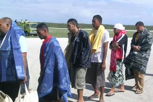 Survivors arrive at Fuaamotu Airport. Photo / Matangi Tonga Online