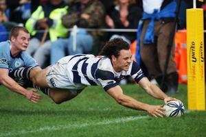 Auckland's Dave Thomas stretches out to score during his side's Air NZ Cup victory over Northland at Kerikeri. Photo / Getty Images