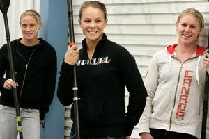 Teneale Hatton (L), Lisa Carrington and Erin Taylor are looking forward to the world championships. Photo / Herald on Sunday