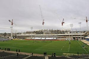 The All Blacks gather for training as construction continues on the new South Stand at Eden Park. Photo / Kenny Rodger
