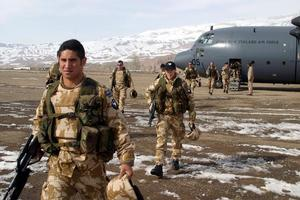 Members of the fifth contingent of New Zealand soldiers to be sent to Afghanistan arrive at Bamiyan airport. Photo / Supplied
