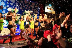 Entertainers and dancers celebrating at the end of the 23 hour Big Night In telethon. Photo / Martin Sykes