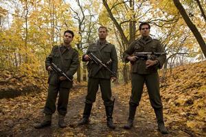 Samm Levine, Til Schweiger  and Eli Roth in Inglourious Basterds. Photo / Supplied
