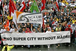 Debate over Maori seats in the Super City led to a protest march through downtown Auckland in May. Photo / The Aucklander