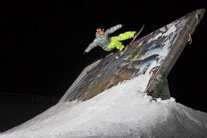 Floodlit snowboarding at Snow Park. Photo / Snow Park NZ