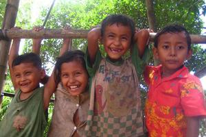 Kids on an island in the Mekong River. Photo / Matt Kennedy-Good