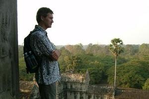 Darrell Wade, co-founder of Intrepid Travel, at Angkor Wat in Cambodia. Photo / Supplied