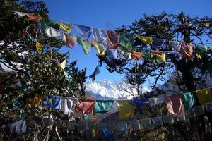Prayer flags flutter high in the snow-capped Himalayas. Photo / Jim Eagles