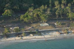 Houses on the coastline of Samoa were totally flattened by the tsunami. Photo / NZDF
