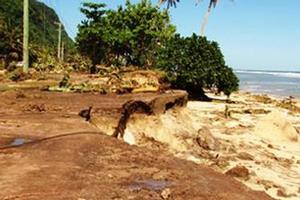 The eroded coastline after tsunami. Photo / Cherelle Jackson
