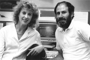 Jane Phare, in 1989, with John Glennie. Photo / Supplied