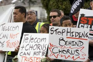 Protestors outside the Telecom annual shareholders meeting at Ellerslie, Aucklamd this morning. Photo / NZPA