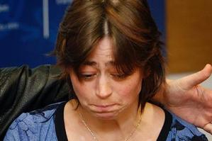 Angela Symes did not speak during the media conference, but her face showed the anguish she is enduring. Photo / Sarah Ivey
