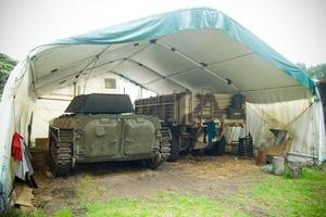 The tank and armoured truck owned by Charles 'Tankboy' Knight. Photo / Jason Dorday