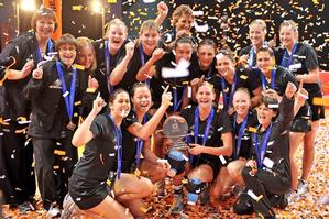 The Silver Ferns celebrate winning the inaugural netball World Series in Manchester. Photo / Getty Images