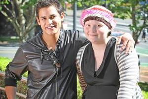 Taylor Harris (R) meets actor Bronson Pelletier in Auckland yesterday. Photo / Greg Bowker