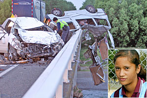 Two teens died and seven others were involved in this crash near Taradale, Napier. Inset: Tamoko Christy. Photos / Hawkes Bay Today