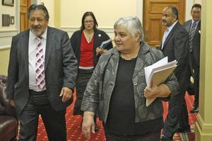 Tariana Turia (foreground) with Maori party colleagues (from left)  Pita Sharples, Rahui Katene, Te Ururoa Flavell and Hone Harawira. Photo / Mark Mitchell