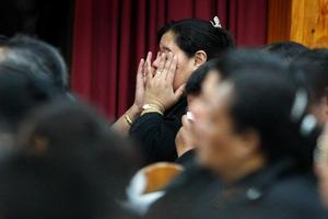 Mourners at a memorial church service held at the Mangere Tongan Methodist Church. Photo / Brett Phibbs
