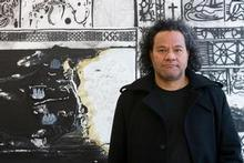 John Pule in front of his artwork 'Arrival'. Photo / Richard Robinson
