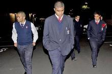 Members of the Kelston Boys 1st XV leave Eden Park after the rugby union hearing. Photo / Dean Purcell