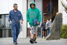 Panapa Joseph (left) will head back to Auckland with his wife and six children to look for employment. Workmate Jesse Ruka has already lined up a fishing job on the West Coast. Photo / Greg Bowker