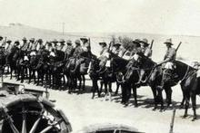 Troops of the Anzac Mounted Division lined up on their horses in 1917. Photo / The Powles Family Collection, Alexander Turnbull Library