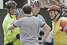 Witnesses offer information after Saturday's incident in St Heliers. Cycle Action Auckland has promised to take action. Photo / Herald on Sunday