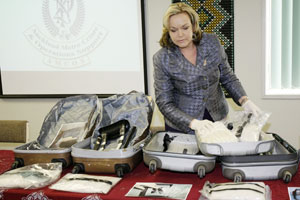 Police Minister Judith Collins at the scene of a drugs bust by Customs last month. Photo / NZPA