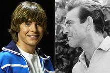 High School Musical star Zac Efron (L) and Sean Connery as James Bond (R). Photos / Supplied