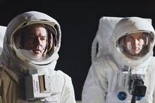 James Marsters as Buzz Aldrin (left) and Daniel Lapaine as Neil Armstrong step on to the moon.