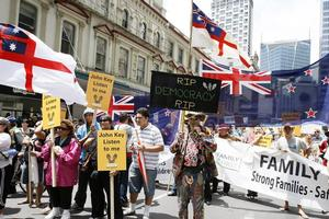 Up to 5000 people have joined the 'Vote with your feet' march through the Auckland CBD today. Photo / NZPA