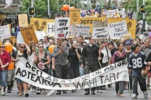 "The ""March for Democracy"". Photo / Herald on Sunday"