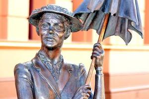 Statue of Mary Poppins outside the old home of author P.L. Travers in Maryborough. Photo / Supplied