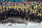Swimmers get ready for the NZ Ocean Series Harbour Crossing. Photo / Richard Robinson