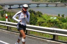 Ultramarathoner Lisa Tamati, doing the hard yards north of New Plymouth on her epic 2,200km run the length of New Zealand.